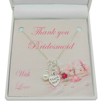 Bridesmaid or Flower Girl Thank You Birthstone Necklace