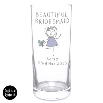 Personalised Purple Ronnie Female Wedding Hi Ball Glass