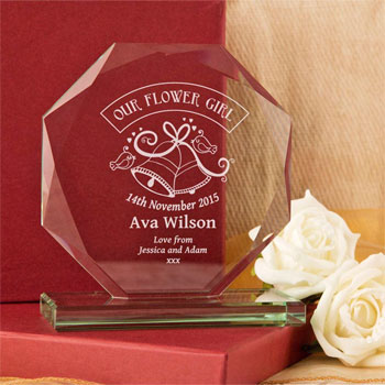 Engraved Our Flower Girl Cut Glass Presentation Gift