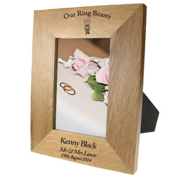 Personalised Solid Oak Portrait Scottish Ringbearer Frame