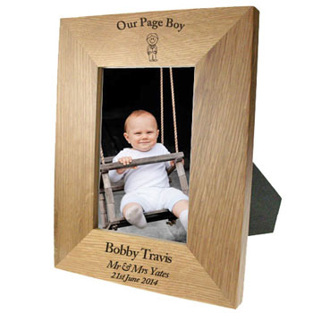 Personalised Solid Oak Portrait Page Boy Photo Frame