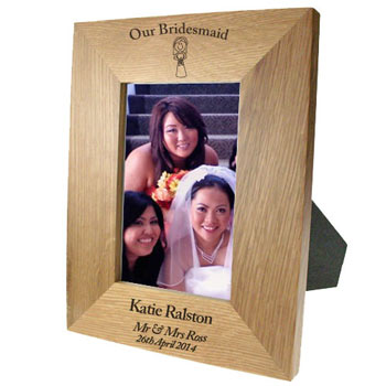 Personalised Solid Oak Portrait Bridesmaid Photo Frame