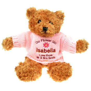 Personalised Flower Girl Brown Teddy Bear