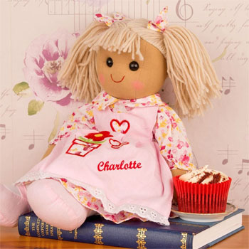 Personalised Pink Girls Rag Doll Toy in Dress
