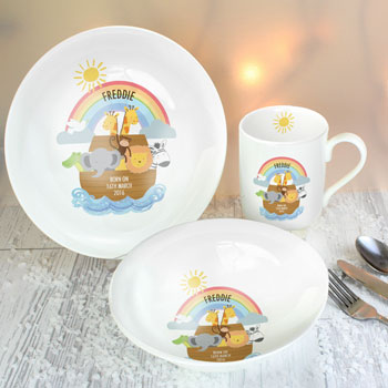 Personalised Noah's Ark China Breakfast Set Exclusive Design