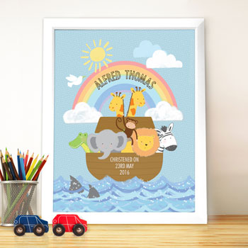 Personalised Noah's Ark Poster Framed Christening Print