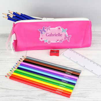 Personalised Pink Butterfly Pencil Case and Contents