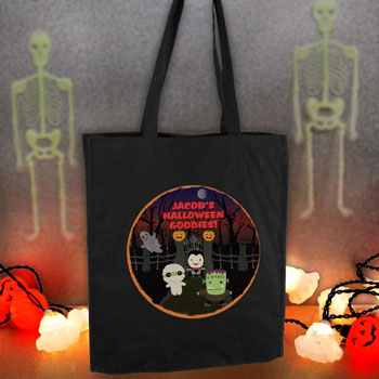 Personalised Halloween Black Tote Cotton Trick or Treat Bag