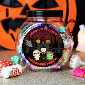 Children's Personalised Halloween Sweet Jar and Sweets