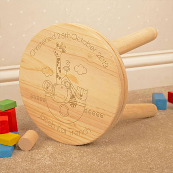 Noah's Ark Personalised Engraved Wooden Christening Stool