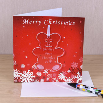 Christmas Card Personalised Teddy Decoration