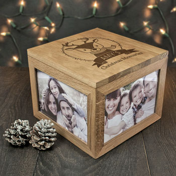 Oak Personalised Woodland Reindeer Christmas Memory Box