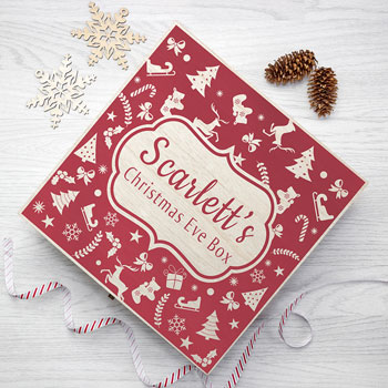 Personalised Christmas Eve Box With Festive Pattern Large
