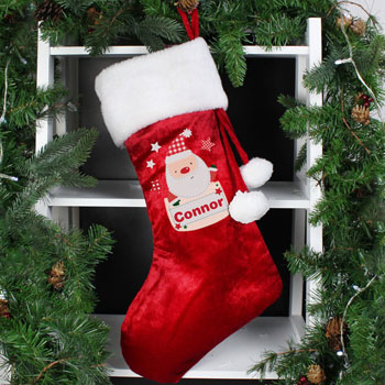 Personalised Pocket Santa Children's Red Christmas Stocking