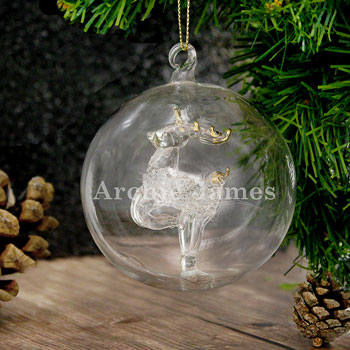 Engraved Name Only Glass Reindeer Bauble