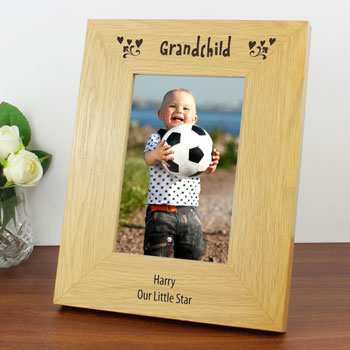Personalised 6 x 4 Inch Grandchild Oak Finish Photo Frame