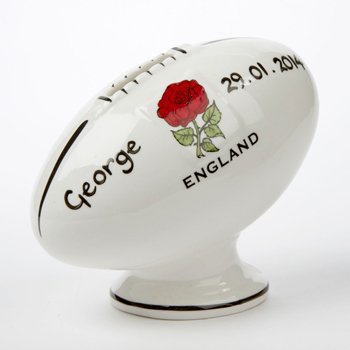 Boy's Personalised Bone China Rugby Ball Money Box