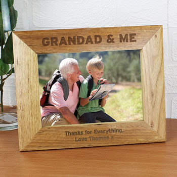 Personalised Grandad and Me 5x7 Inch Wooden Photo Frame