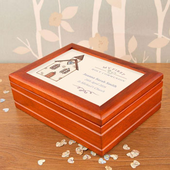 Personalised 1st Holy Communion Church Musical Jewellery Box