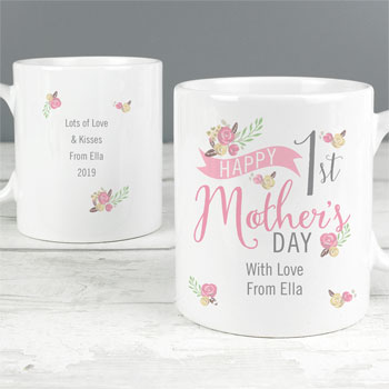Personalised Floral Bouquet 1st Mother's Day China Mug
