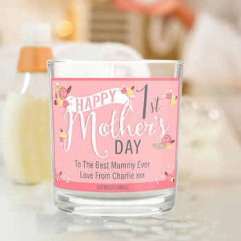 Personalised Floral Bouquet 1st Mother's Day Scented Candle