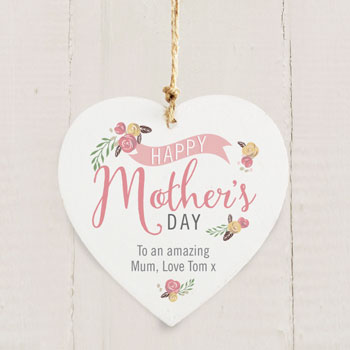 Personalised Floral Bouquet Mothers Day Wooden Heart