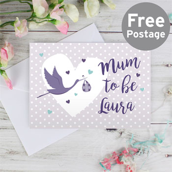 Personalised Mum to Be Stork Maternity Pregancy Card