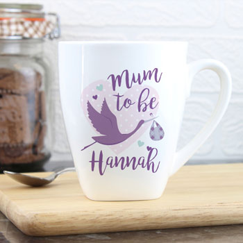 Personalised Mum to Be Stork Ceramic Latte Mug