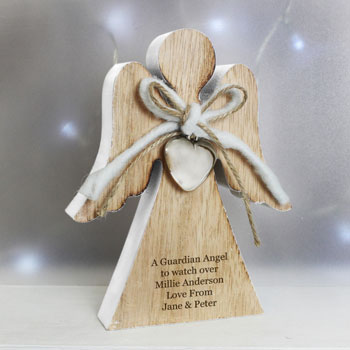 Personalised Rustic Wooden Guardian Angel Decoration
