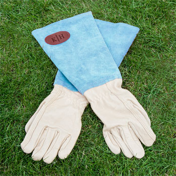 Personalised Large Blue Leather Gardening Gauntlets