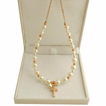 Rose Gold Silver and Ivory Swarovski Pearl Cross Necklace