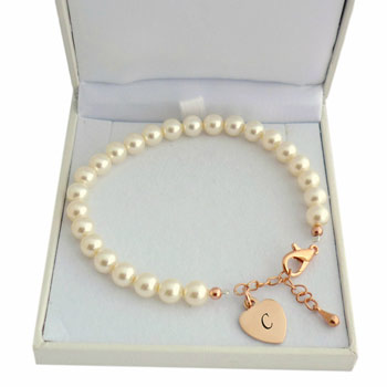 Ivory Pearl and Rose Gold Bracelet With Engraved Heart
