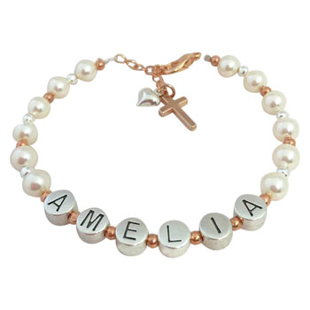 Pearl, Pewter and Rose Gold Name Bracelet With Cross