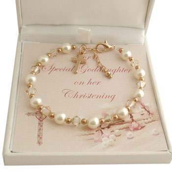 Swarovski Pearl Crystal and Rose Gold Christening Bracelet