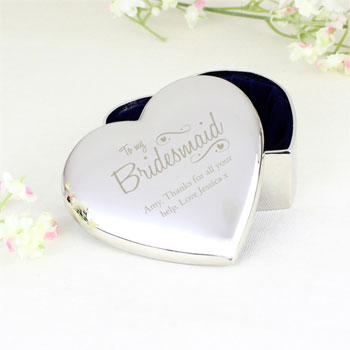 Personalised Bridesmaid Swirls and Hearts Silver Trinket Box