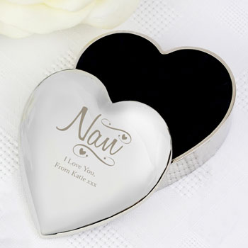 Personalised Nan Swirls and Hearts Trinket Box Any Message