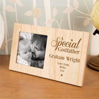 Special Godfather Personalised Wooden Photo Frame