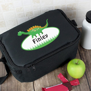 Boys Personalised Dinosaur Insulated Black Sandwich Bag