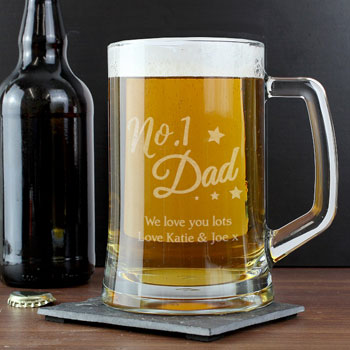 Personalised No.1 Dad Glass Pint Stern Beer Tankard