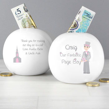 Personalised Fantastic Page Boy Round China Money Box