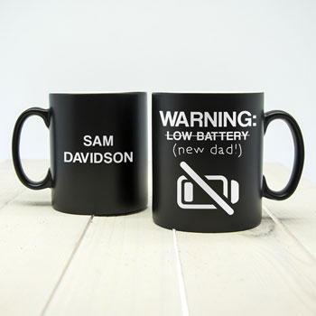 Personalised Warning Low Battery New Dad Black Matte Mug