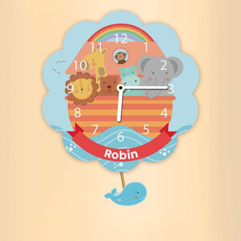 Personalised Noah's Ark Silent Tick Wall Nursery Clock