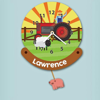 Personalised Children's Farm Pendulum Wall Nursery Clock