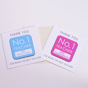No. 1 Teacher Personalised Coaster Card