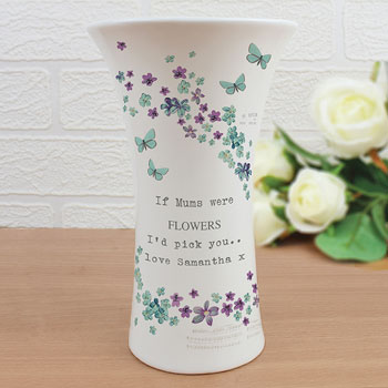 Personalised Forget Me Not Ceramic Waisted Vase Women's Gift