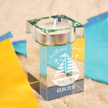Personalised Glass Sail Boat Tea Light Holder