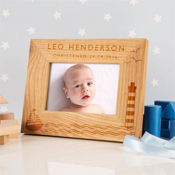 Personalised Solid Oak Nautical Photo Frame 6x4