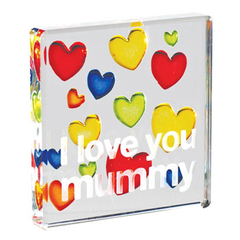 I Love You Mummy Glass Token With Free Spaceform Gift Bag