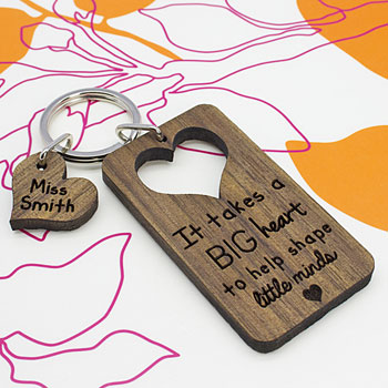 Big Heart To Shape Little Minds Personalised Teacher Keyring