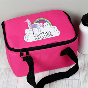 Girl's Pink Personalised Unicorn School Lunch Bag Lunch Box